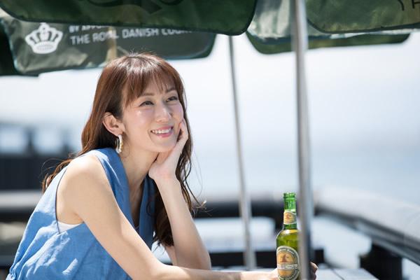 江の島ビアテラスにて大河内奈々子さん