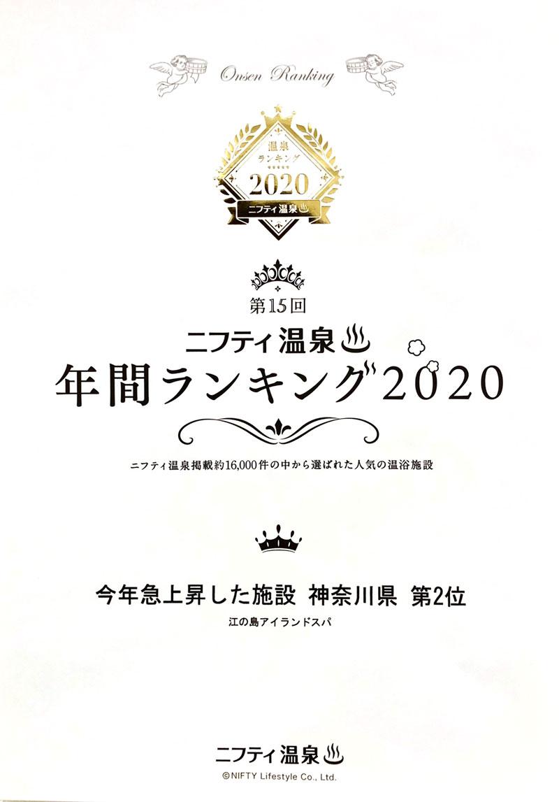 ニフティ温泉年間ランキング2020